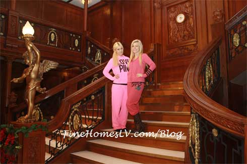 Crystal Harris and Ciara Price On The Grand Staircase