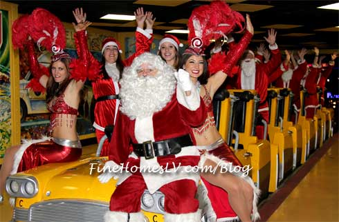 Santa and Showgirls on the Roller Coaster
