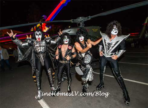 KISS Pos With Maverick Helicopter At Hard Rock Las Vegas