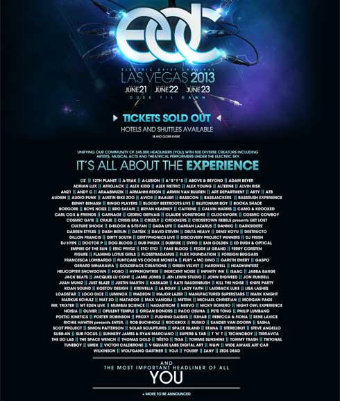 2013 EDC DJ Lineup