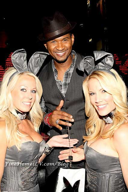 Usher and Playboy Bunnies with Playboy Key