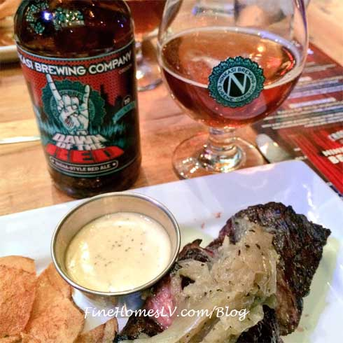 Ninkasi Brewing Beer With Hanger Steak