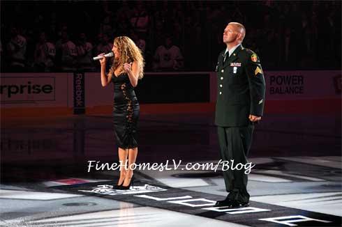 Lorena Peril sings at LA Kings Game Inside Staples Center