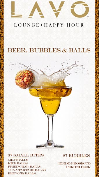 Beer, Bubble and Balls Happy Hour at LAVO