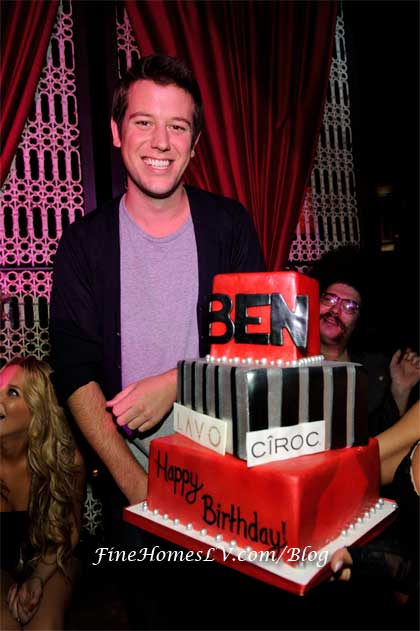 Ben Lyons with Birthday Cake at LAVO Las Vegas