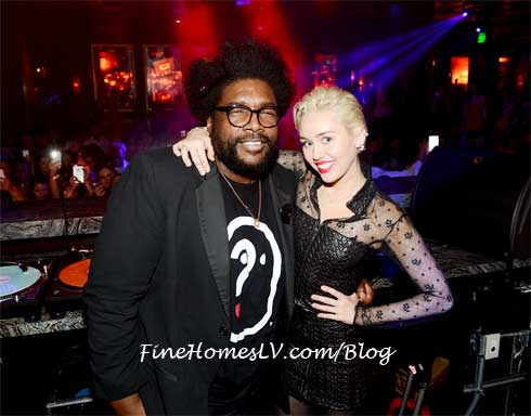 Miley Cyrus and Questlove at OMNIA Nightclub