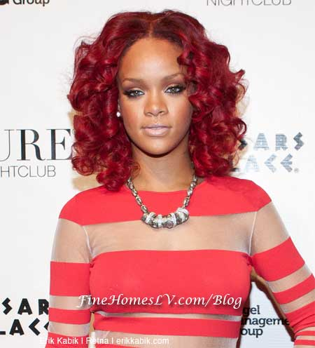 rihanna red hair curly hair. rihanna red hair curly. crowd