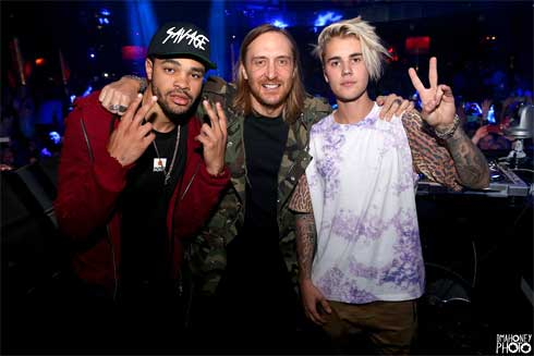 Maejor, David Guetta and Justin Bieber At XS