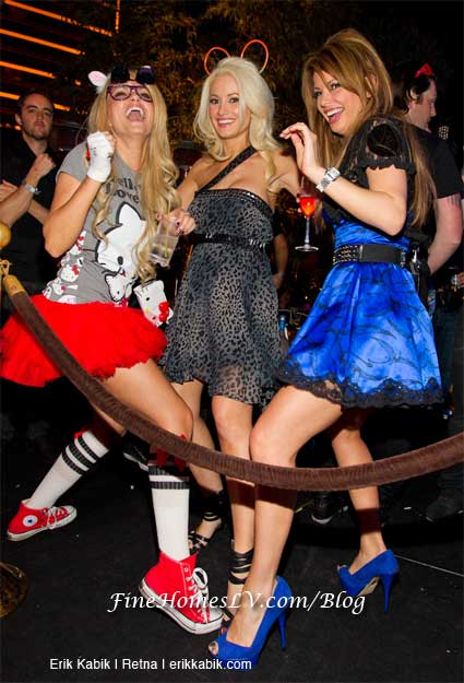 Angel Porrino, Holly Madison and Laura Croft at XS