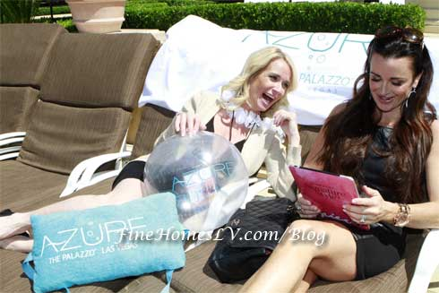 Kim and Kyle Richards at AZURE Luxury Pool