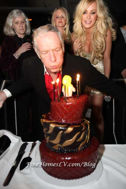 Hugh Hefner with Birthday Cake